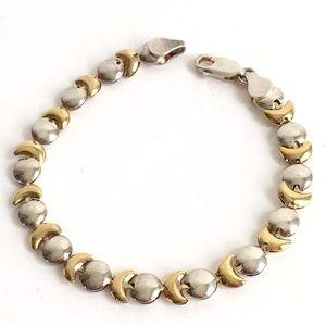 Vintage Celestial Moon Phase Bracelet Silver Gold